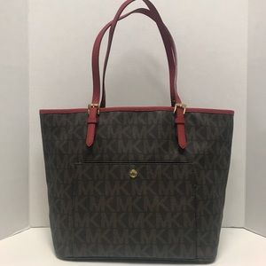 Michael Kors MK JET SET Tote Bag Medium Brown Red